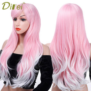 "DIFEI Women's 24"" Long Big Wavy Hair Wig Pink Mixed White Heat Resistant Synthetic Two-color Wig"
