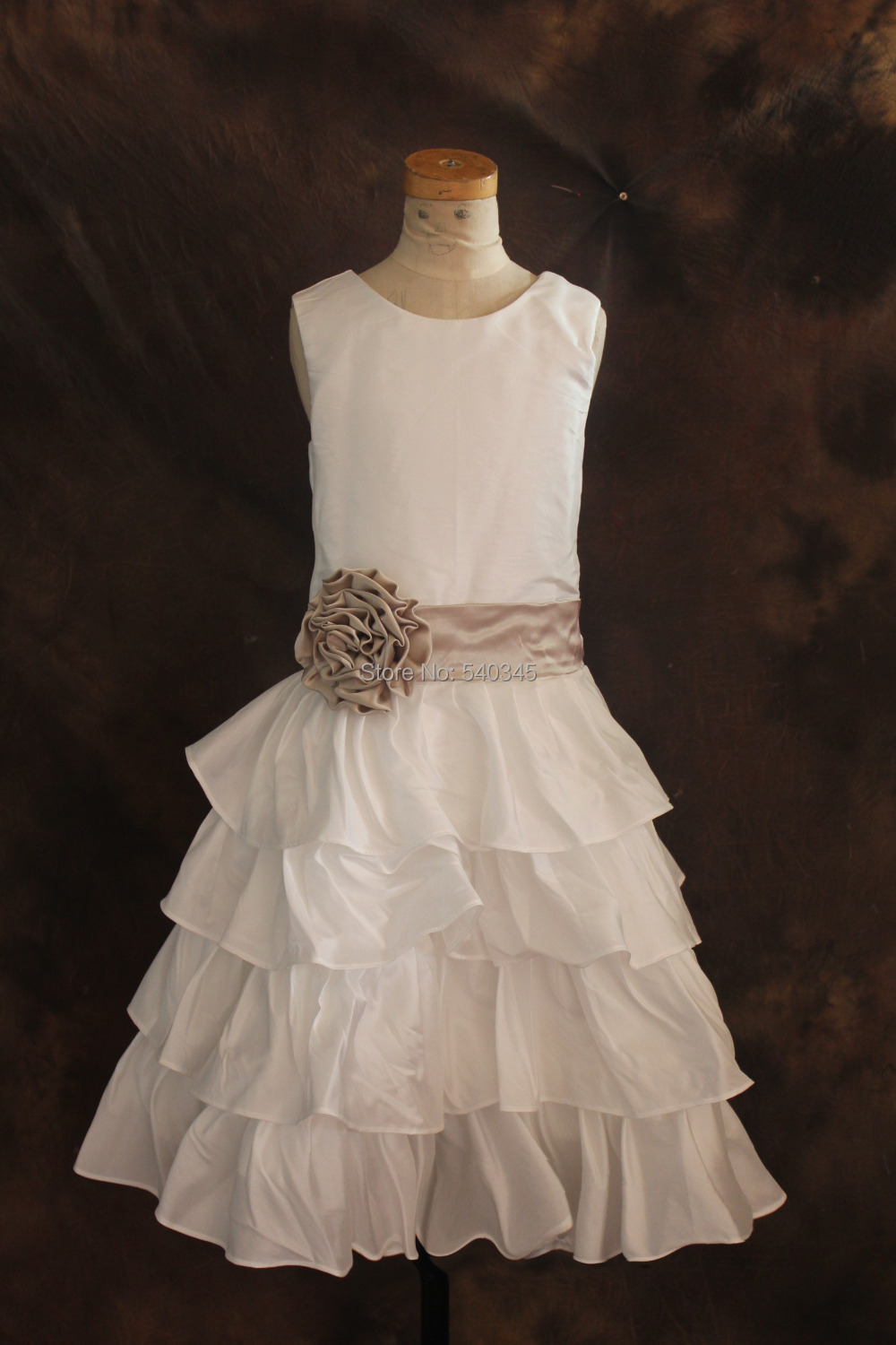 Cheap Price handmade   Flowers   sashes   girls   pageant   dresses   In Stock Real Sample 2016 New Arrival   flower     girl     dresses   for weddings