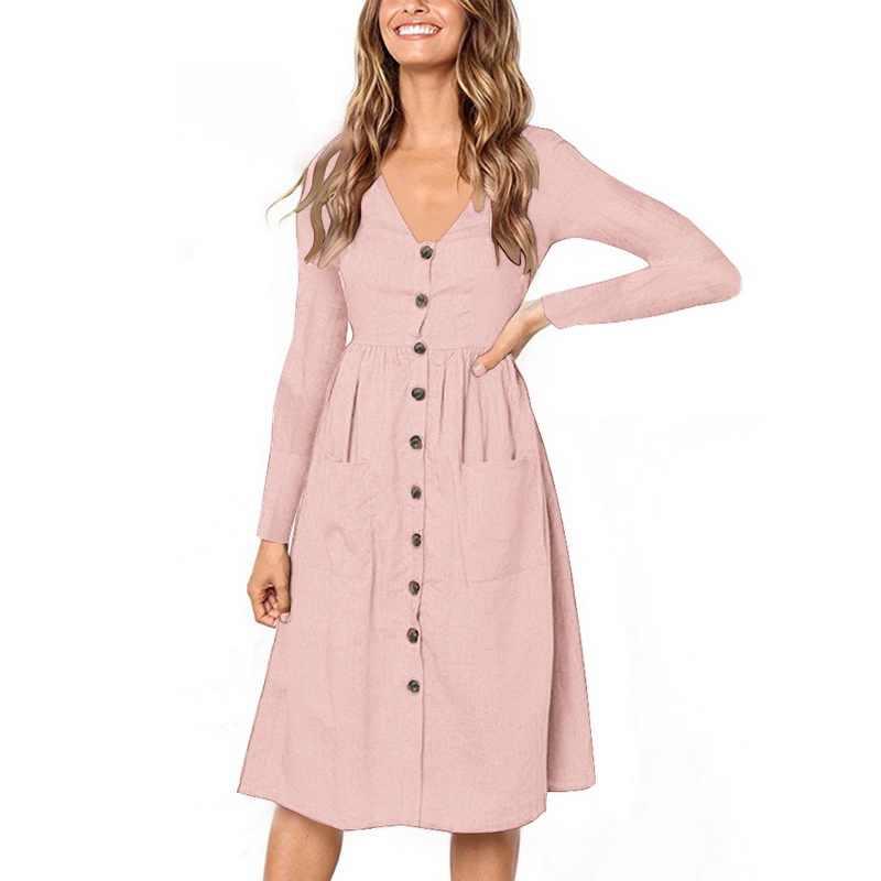638056e31cb ... Laamei Женская мода осень Классические платья с v-образным вырезом и  длинным рукавом и Пуговицы