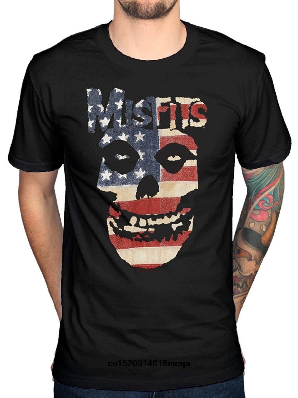 t shirt Mens Misfits USA Flag Skull T Shirt American