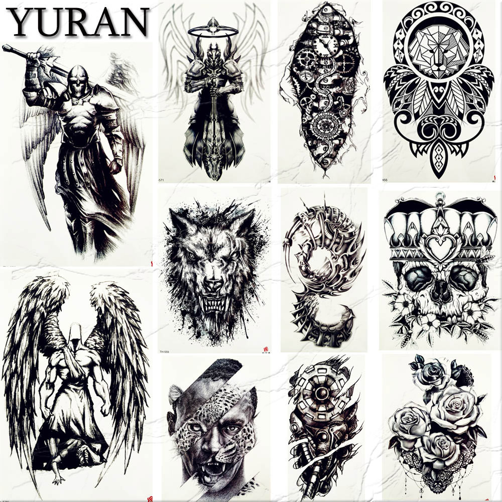 YURAN Men's Fashion Spartan Warrior Tattoos Temporary Knight Body Arm Black Fake Tatoo Women Neck Totem Waterproof Tattoo Skull
