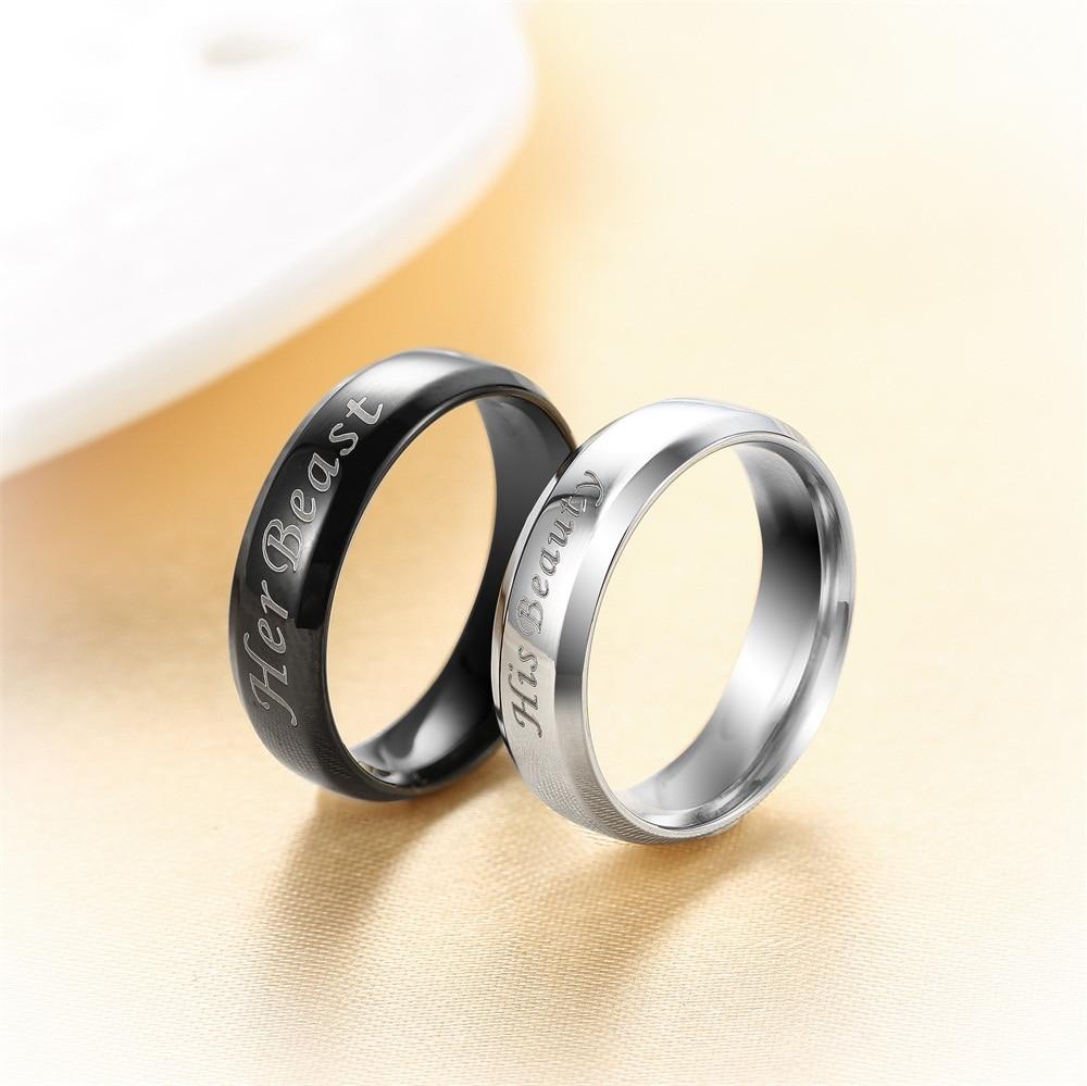 AZIZ BEKKAOUI Customized Name Wedding Rings Stainless Steel Finger ...