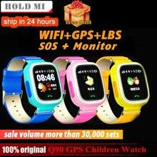 62b905ebe Q90 GPS niño reloj inteligente posición de teléfono niños reloj 1,22  pulgadas Color pantalla