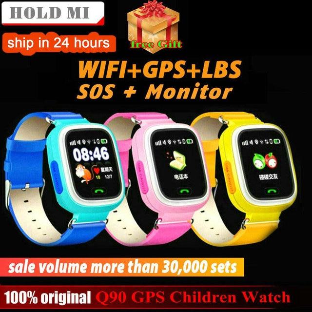 Q90 GPS Trẻ Em Thông Minh Điện Thoại Đồng Hồ Vị Trí Trẻ Em Xem 1.22 inch Màu Sắc Màn Hình Cảm Ứng WIFI SOS Thông Minh Bé Đồng Hồ Q50 q80 q60 Đồng Hồ