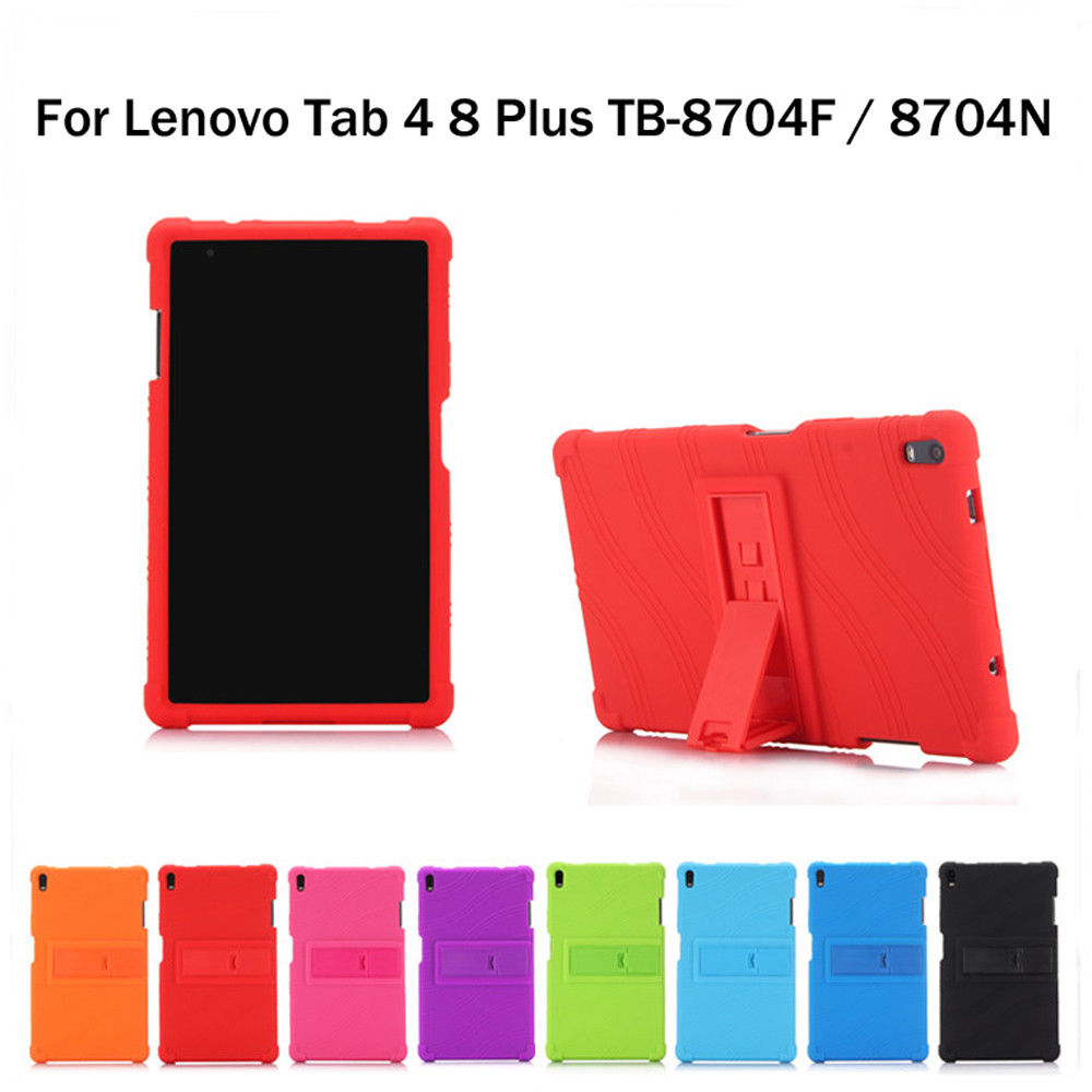 Shockproof Back cover child Silicone Stand case for <font><b>Lenovo</b></font> TAB4 TAB 4 8 Plus TB-<font><b>8704</b></font> TB-<font><b>8704</b></font> N/X/F Tablet case cover funda+Pen image