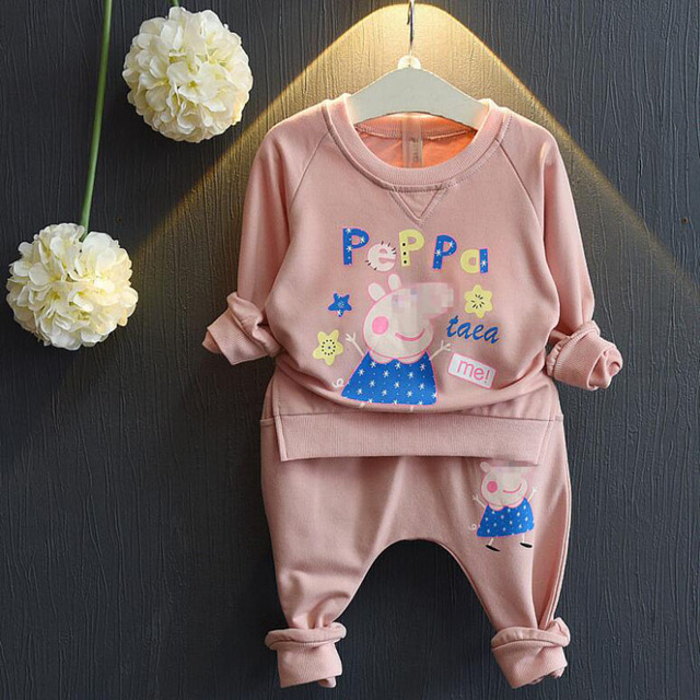 Hot Girls Clothing Sets Cute Children Suit Autumn Winter Clothes Printed Cartoon Pig Long Sleeve T shirt+ pants 2PCS Kid clothes