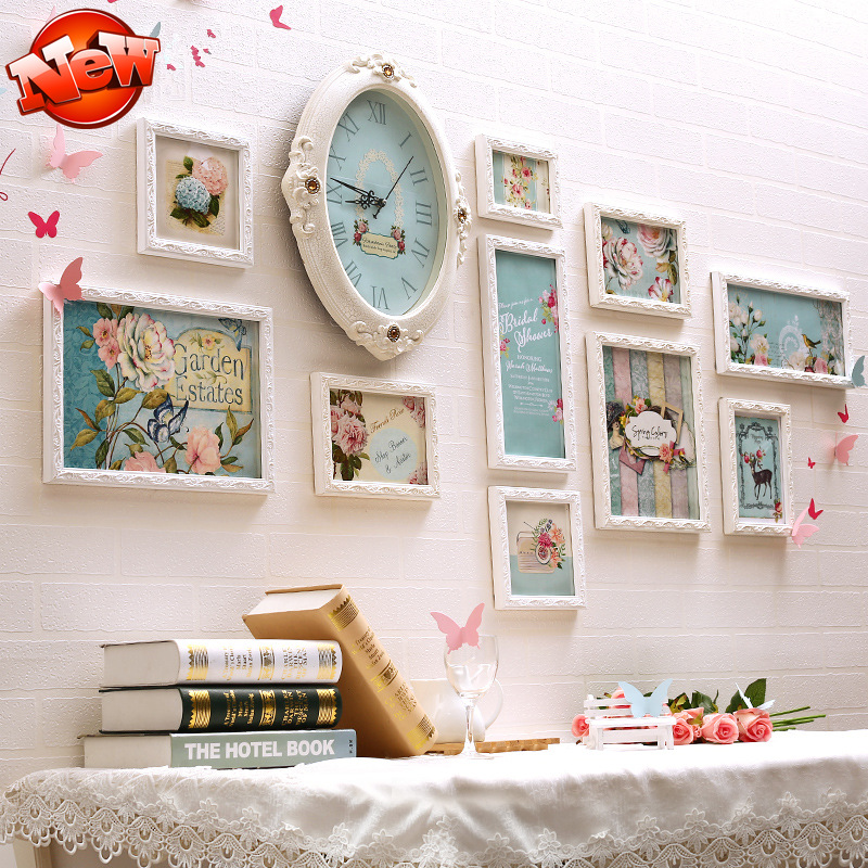 Good Quality Carved 10 Pcs Set Wooden Photo Frame Wedding Picture Wall Combination With Clock Family Frames Diy In From Home Garden