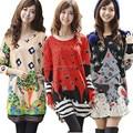 Горячие зимние платья, модные, вязаные, с принтами, большой размер плюс 3XL, 4XL, с длинными рукавами, О-образным вырезом, свободные, богемные женские платья для полных дам