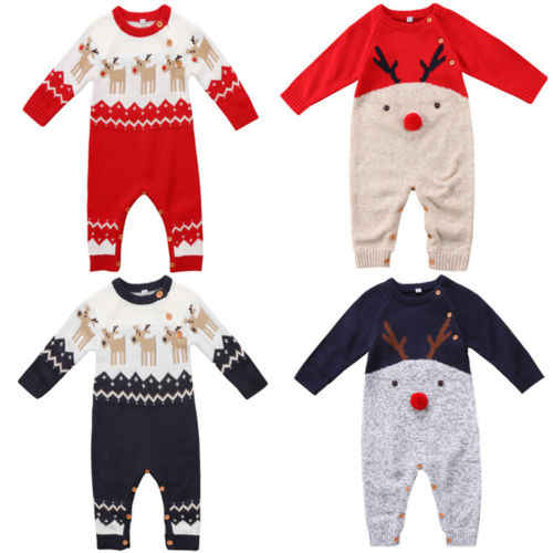 6e24c0aa03d1 Cute Christmas Baby Romper Newborn Baby Boy Girl Deer Wool Knitting Romper  Long Sleeve Jumpsuit Outfits