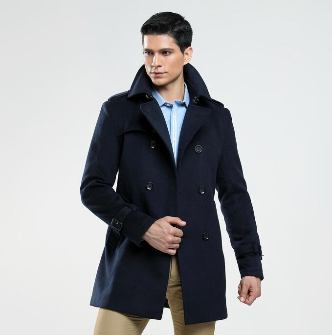 Double breasted woolen coat men trench coats long sleeves overcoat mens cashmere coat casaco masculino england autumn winter in Wool amp Blends from Men 39 s Clothing