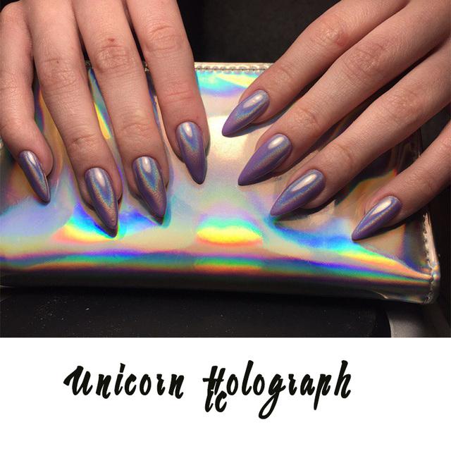 1g/Box New 2017 Rainbow Shinning Nail Glitter Powder Holographic Powder Nails Dust Laser Holo nail art decorations Pigment