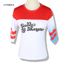 High Quality Cosplay Costume Suicide Squad Harley Quinn T-Shirt Shorts Batman Joker Daddy's Lil Monster Clown Print Cosplay