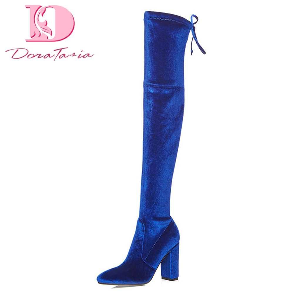 DoraTasia 2018 High Quality Large Size 33-42 Black Blue Boots Women Square  Heels Slip c55019e20e41