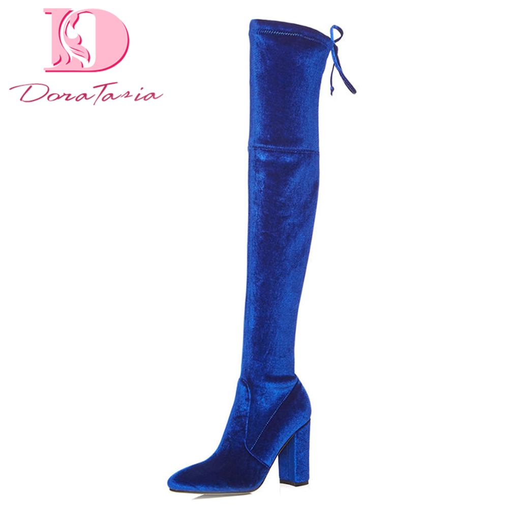DoraTasia 2018 High Quality Large Size 33-42 Black Blue Boots Women Square Heels Slip On Over The Knee Boots Woman Shoes doratasia 2018 large size 34 43 chunky heels women boots shoes slip on over the knee high boots leisure fashion shoes woman