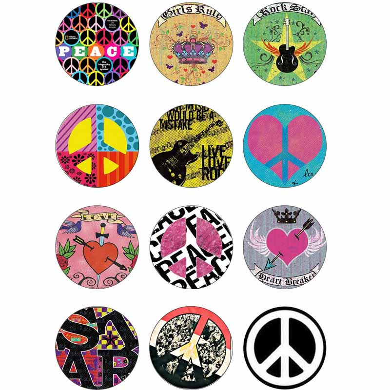 10mm 14mm 16mm 12mm 20mm 25mm 382 12pcs lot Peace Mix Round Glass Cabochons Jewelry Findings 18mm Snap Button Charm Bracelet in Jewelry Findings Components from Jewelry Accessories