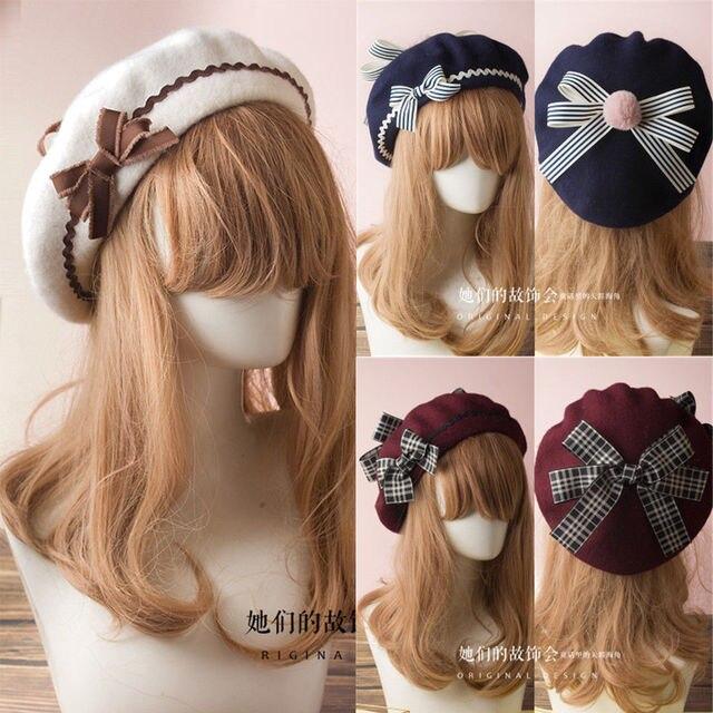 Sombrero Lolita boina francesa gorro de lana gorro de esquí pajarita chica  mujeres clásico 17 colores 42eb2672685