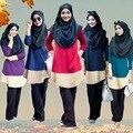 Мусульманские женщины Большой размер рубашка Дубай Турецкая Женской Одежды Женщин Арабских Дамы Кафтан-Кафтан Малайзия С Капюшоном рубашка