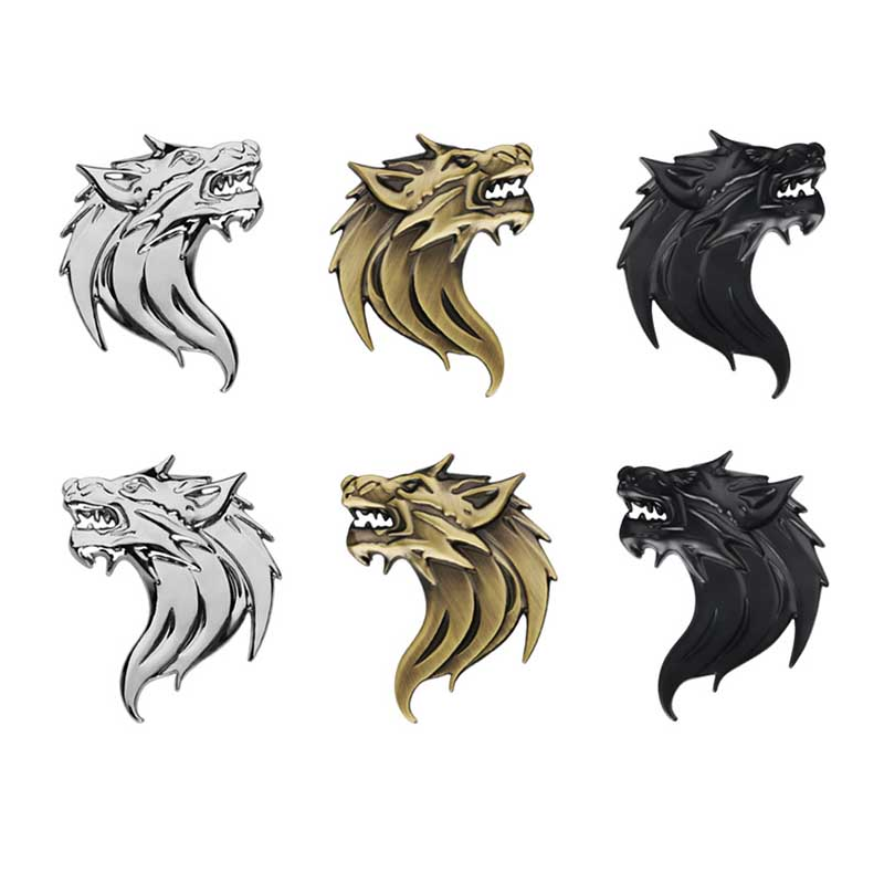 Left / Right Antique Wolf Head Zinc Alloy Chrome Metal Car Styling Emblem Badge Refitting 3D Sticker / Grille Decal Cool Mark car sticker sports word letter 3d chrome metal emblem badge decal auto dropshipping 014