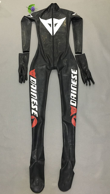 Men racing bicycle latex catsuit motorcycle race with socks & removable gloves