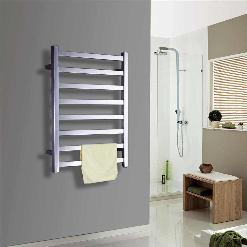 wall mounted polish towel warmer 304 stainless steel square towel clothes dryer rack bathroom fitting heated towel rail tw rt8