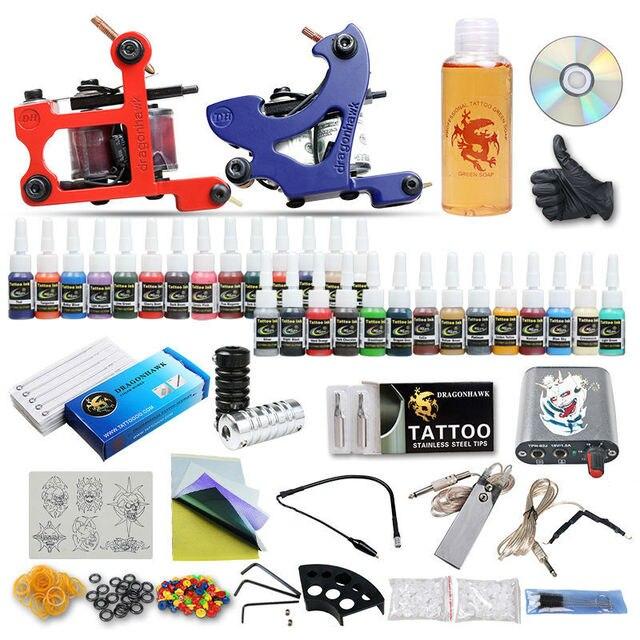 New Style 2 Tattoo Machine Guns Tattoo Kit 28 Inks Steel Tips Tattoo Supplies