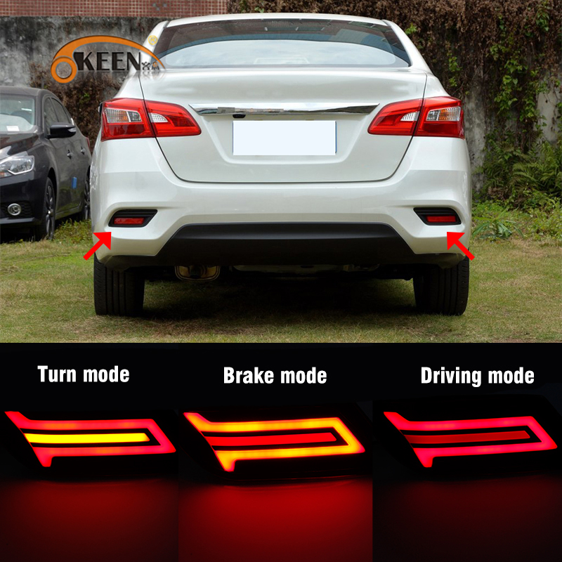 OKEEN 2pcs Car Styling LED Rear Bumper Reflector Lights for Nissan Sentra Sylphy 2016 2017 2018 Driving Lamp Brake Turning Light new car styling 2d led light logo auto emblems 3colors for nissan qashqai sylphy sentra teana altima best quality free shipping
