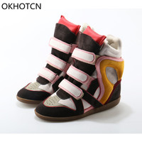 Okhotcn الأزياء عالية أعلى عارضة أحذية 8 سنتيمتر الطول زيادة منصة أسافين أحذية نسائية جلد طبيعي الاحذية الأحذية القماشية