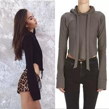 2016 Women'S Clothing Hoodies Sweatshirts Long Sleeve Hoodie Knitted Short Sweatshirts Brand female tops