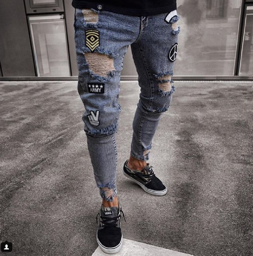 European And American Small Foot Badge Jeans Men's Fashion Knee Hole Zipper Small Foot Hole Denim Trousers
