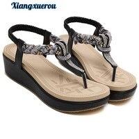 Xiangxuerou2017 new ethnic women's shoes Bohemian water drill wedge heel sandals