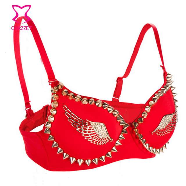 de8728f9b5 placeholder Corzzet Bra Women Fashion Wing Stud Rivet Bra Gold Lingerie  Punk Party Wear Clubwear push up