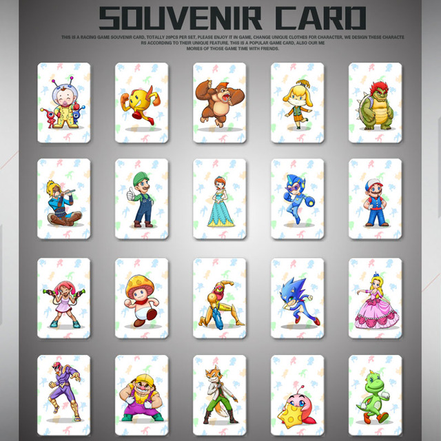 20 Pcs Lot Mario Kart 8 Deluxe Nfc Tag Cards Set For Ns Switch