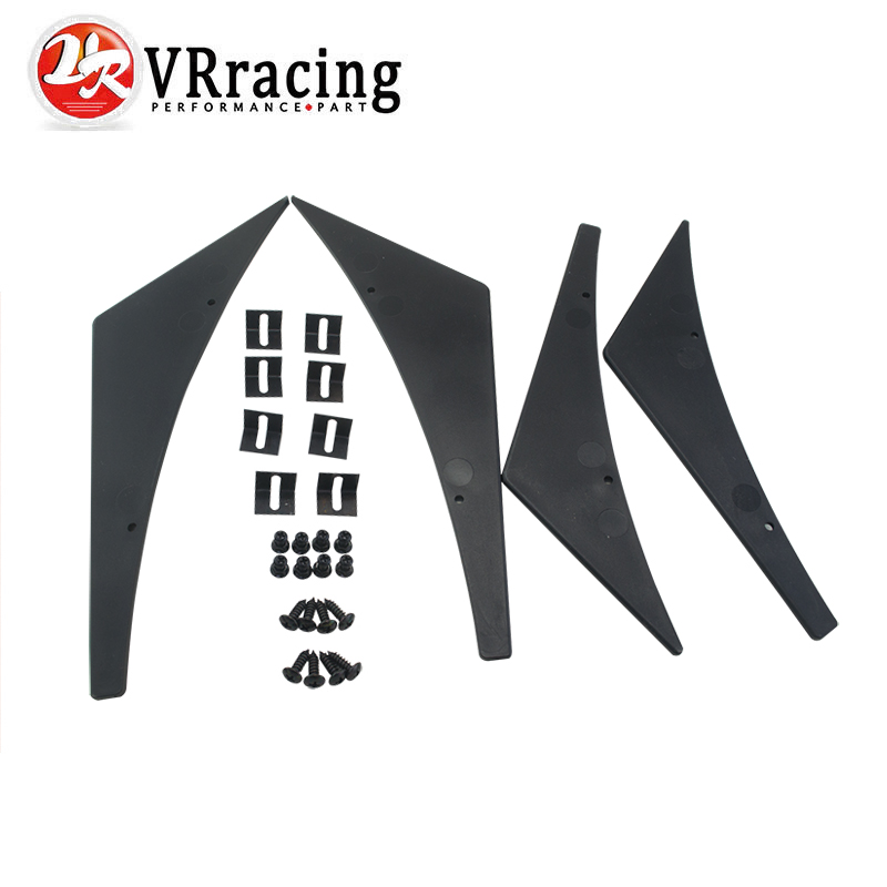 цена на VR RACING - New Universal Fit Front Bumper Lip Splitter Fins Body Spoiler Canards Valence Chin VR-BS21