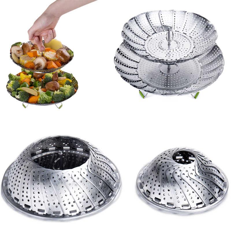 Instantâneo Pot Steamer Steamer Panelas Utensílios de Cozinha Panela de Vapor De Aço Inoxidável Cesta Fruta Vegetal Dobrável Malha Cozinhar Ferramentas