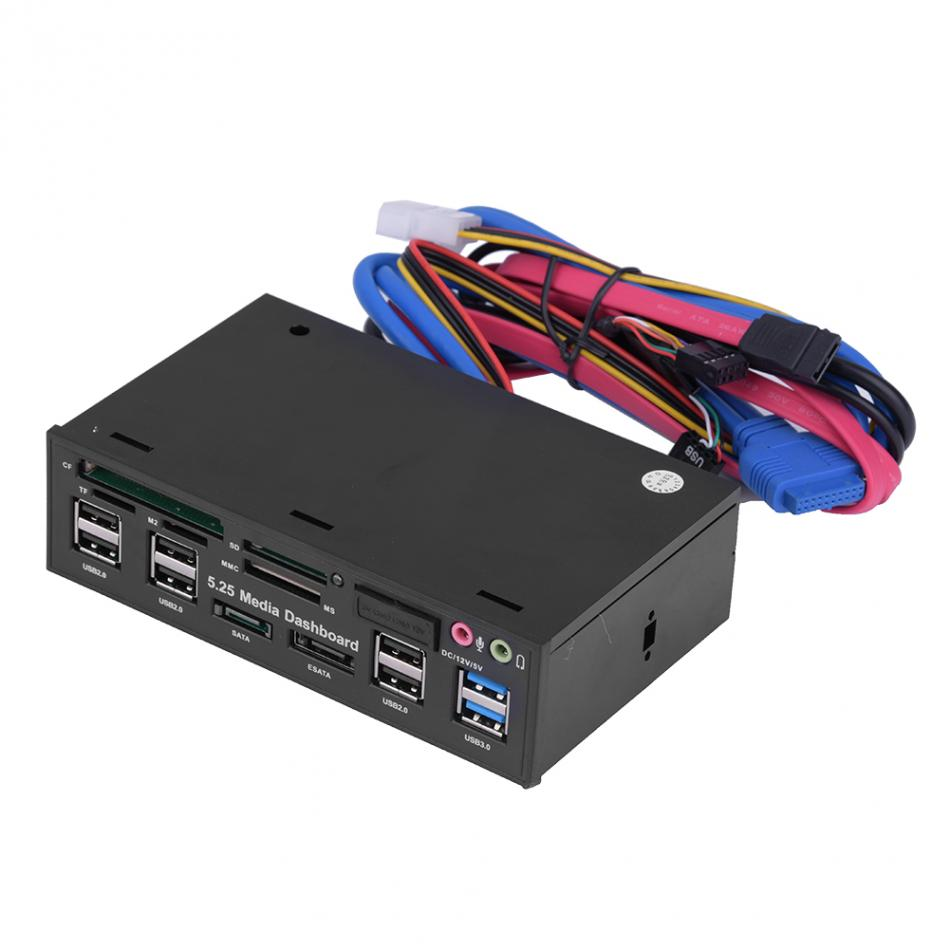 PC Internal Card Reader USB3.0 e-SATA SATA 5.25inch Media Dashboard Front Panel
