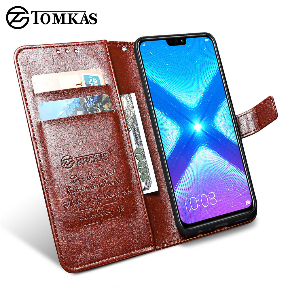 the best attitude b37c5 62c95 TOMKAS Luxury Leather Flip Case for Honor 8x 360 Protective Phone Cover  Leather Wallet Silicon Cases for Huawei Honor 8x