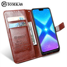 TOMKAS Luxury Leather Flip Case for Honor 8x 360 Protective Phone Cover Leather Wallet Silicon Cases for Huawei Honor 8x(China)