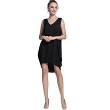 Domeef плюс Размеры Лето Женское Повседневное платье Майка-топ Свободная блузка рубашка пляж до колена праздничное платье