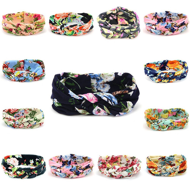 Lovely Flower Printed Cloth Hair Band for Child Turban Knot Cross Headband Headwear Hair Accessories