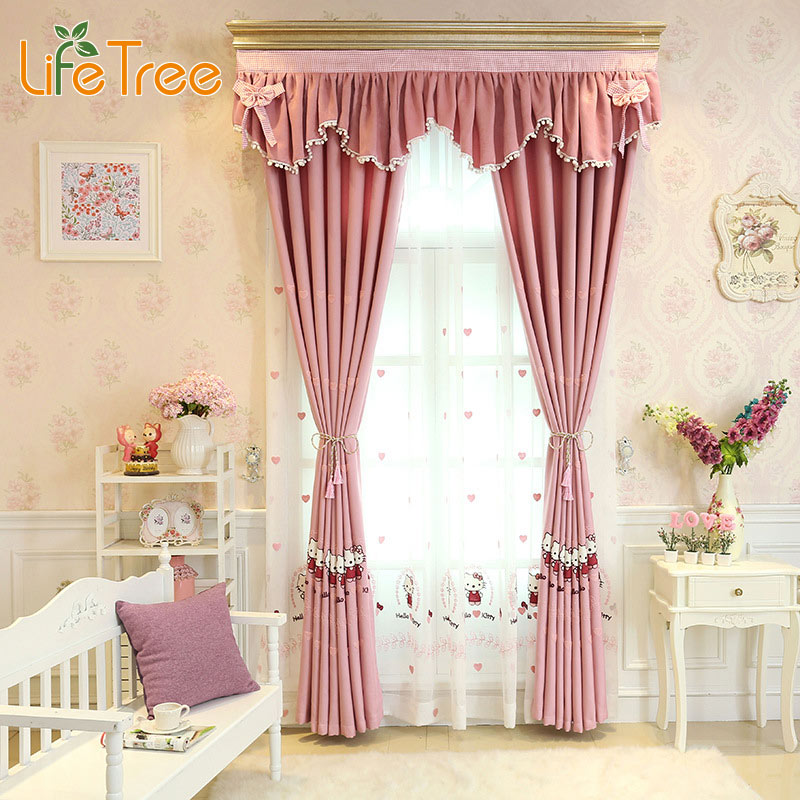 Pink Cute Cartoon Printed Curtains For Girls Bedroom Kids