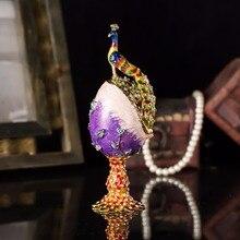 Qifu Handicraft peacock metal  jewelry box