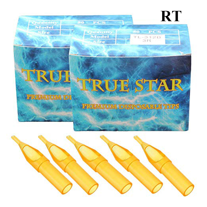50Pcs Yellow3R-5R 7R 9R 11R 13R 15R 18RT Disposable Tattoo Tips  Sterile Assorted Plastic Classical Tattoo Tips For Tattoo