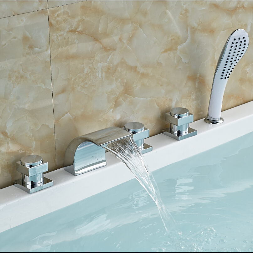 Factory Direct Sale Unique Design Handles 5PCS One Set Bathroom Waterfall Bathtub Faucet 20cm factory direct sale high to want to chop green toe ms is cool procrastinate professional design style unique