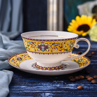 European Court Style Tea Cup Set Fine Bone China Teacup Gold Rimmed Ceramic Coffee Cups Porcelain Afternoon Tea Cup And Saucer