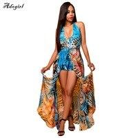 Adogirl Sexy Print Flower Summer Dress Strap Deep V Neck High Waist Beach Women 2017 New