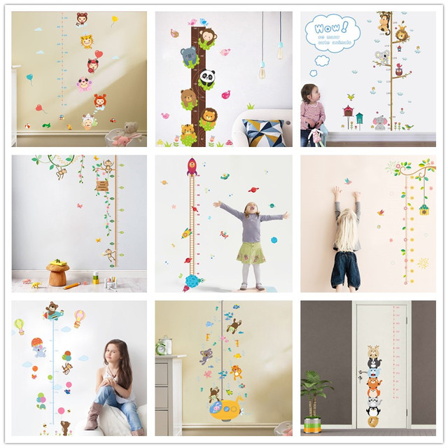 % Cute animals stack height measure wall stickers decal kids vinyl wallpaper mural baby girl boy room Growth Chart stickers
