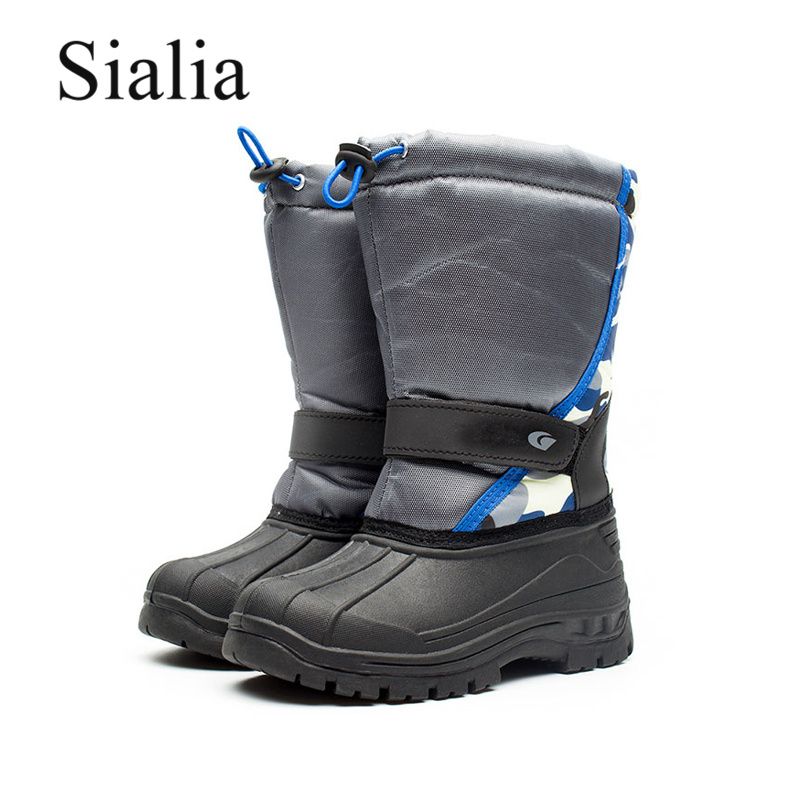 Sialia Winter Children Snow Boots For Kids Shoes Boys Boots Girls Shoes Warm Plush Mid-calf Lace-up Round Toe Children Boots