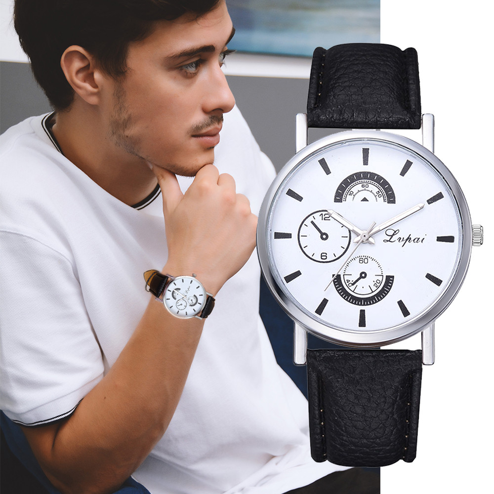 Hot Sale  Men's Watch Minimalism Mens Watches Fashion Quartz Wristwatch  Scale Dial Clock Simple Leather Strap Reloj Hombre50