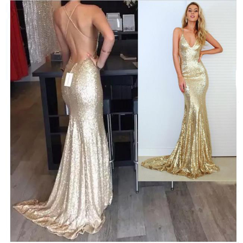 5a2ace5d3f Sexy V Neck Champagne Gold Mermaid Prom Dress 2016 Sparkle Long Glitter  Sexy Sequin Criss Cross Back Evening Dresses-in Prom Dresses from Weddings    Events ...