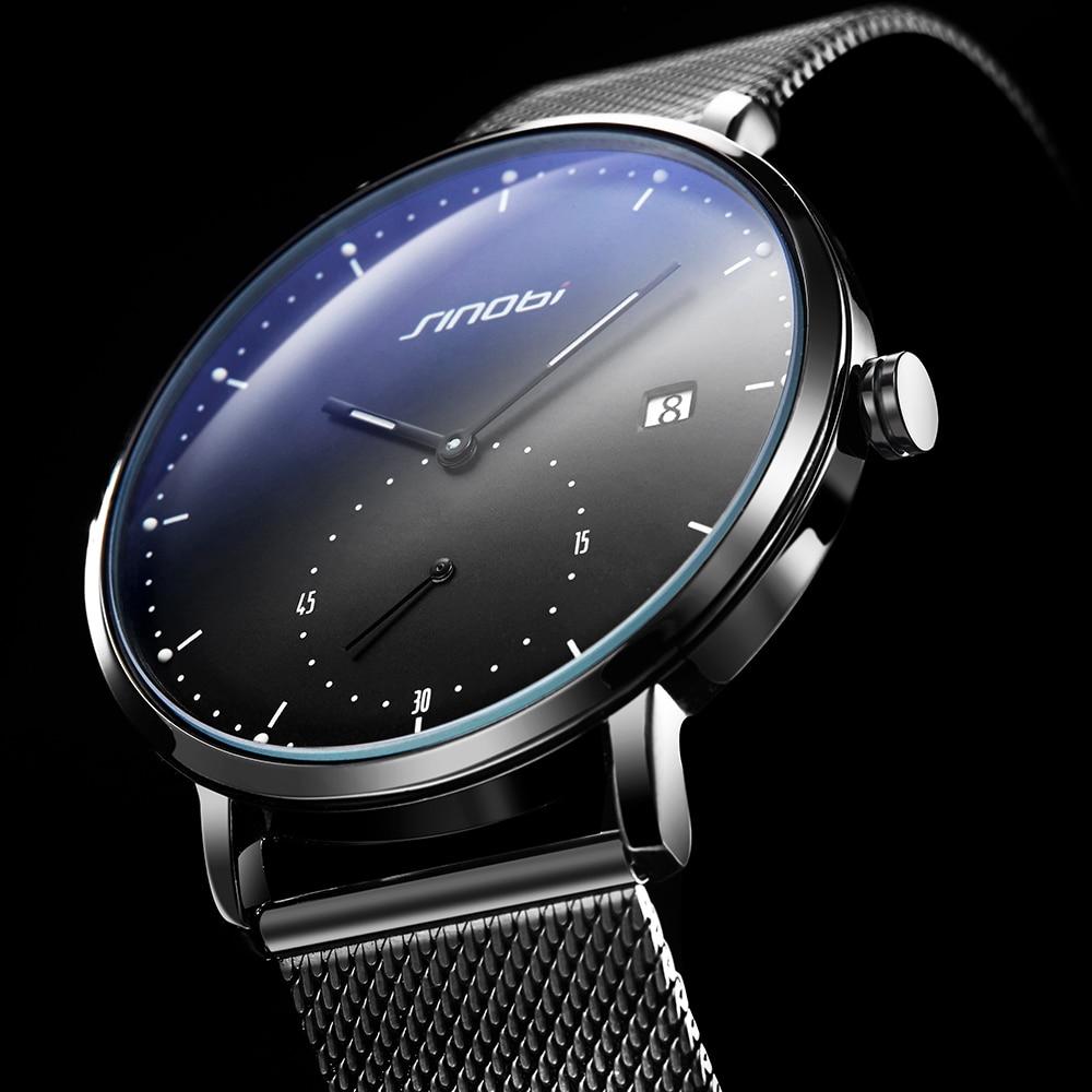 SINOBI Fashion Mens Watches Top Brand Luxury Quartz Watch Men Casual Slim Mesh Steel Waterproof Sport Watch Relogio Masculino